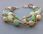 Wire Wrapped Mint Bracelet - Vintage Glass Mint Green and Gold Bracelet with Freshwater Pearl, Crystal Pearl and Brass