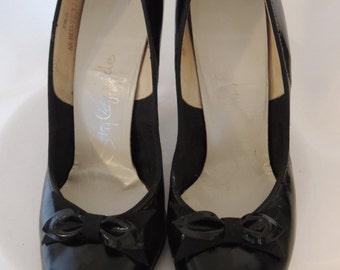Vintage 1950's Black Peep Toes, Pinup, Pump Shoes Size 5-1/2