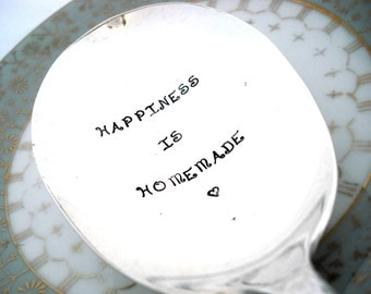 Hand Stamped Serving Spoon - Stamped Casserole Spoon - Happiness is Homemade - Holiday 1951