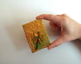 Patina Petals: mini reversible ACEO painting with display easel {2015}