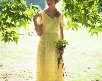 Sunshine Prom Dress. Pale Yellow Ruffle Dress. Bridemaids Dress. Wedding Dress. Size S/M