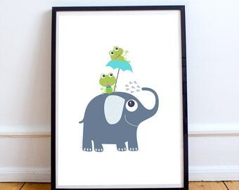 Frogs and elephant nursery decor, elephant nursery, baby animal prints, baby nursery decor, kids art print, kids wall Art, children decor