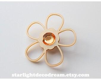 Mami Tomoe's Flower Pin Gold Acrylic Pinback Brooch Puella Magi Madoka Magica Inspired Fanart for Cosplay, Magical Girl Fashion, Mahou Kei
