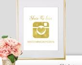 Hashtag Wedding Sign - Foil Heart - Gold Hashtag Sign - Wedding Hashtag Sign - Share the love sign - Social Media Hashtag Sign (FS3)