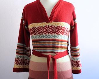 Vintage 1970's Maroon Stripe Belted Sweater M