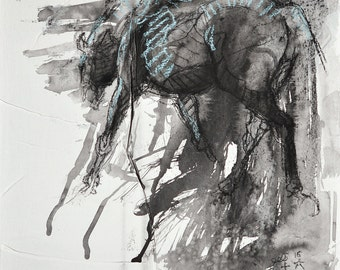 Trotting Horse, Animal, Modern Original Fine Art, Watercolor and Black Chalk Drawing of a Horse
