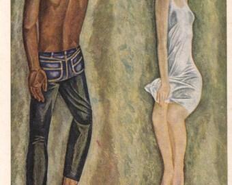 """V. Popkov """"A Couple"""" Print, Postcard -- 1973"""