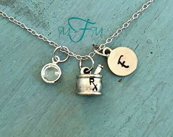 RX Charm Necklace, Personalized Necklace, Silver Pewter Mortar and Pestle Charm, Custom Necklace, Swarovski Crystal birthstone