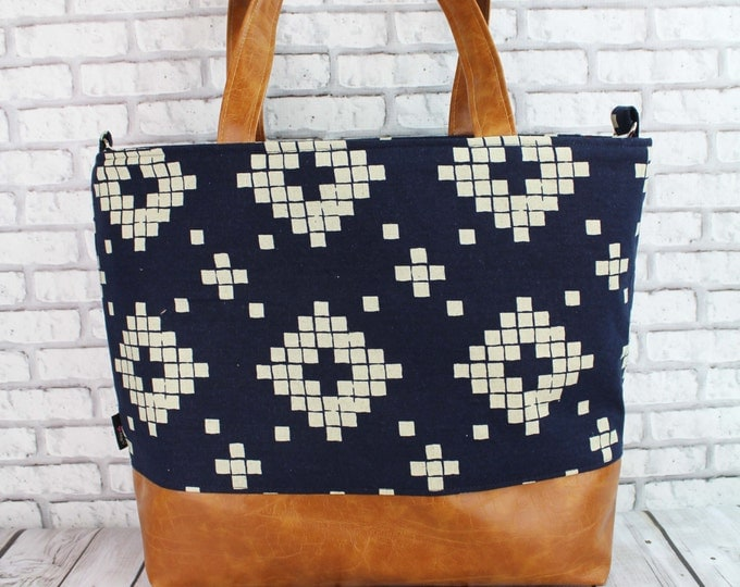 Extra Large Lulu Tote  -Indigo Navy Tiles and PU Leather - Zipper Closure LIMITED EDITION Overnight Diaper Bag Beach Dance Travel Bag