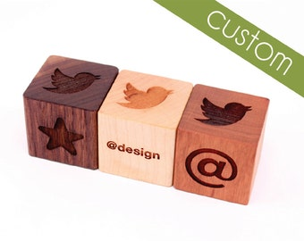 CUSTOM WOOD BLOCKS inquiry - engrave your company logo or custom artwork on our eco-friendly, all natural, solid hardwood, wooden blocks