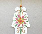 Hamsa Wall Art, Mandala, Hand Painted Wood Hand of Fatima Art Home Decor, Housewarming, Hannukah, Holiday Gift