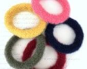 One Wool Felted Bangle Bracelet - Five Colors Available - Choose 1 - Handmade Hand Knit Bangle