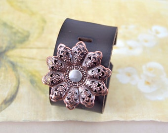 Brown Cuff Bracelet with Copper Metal Flower Accent