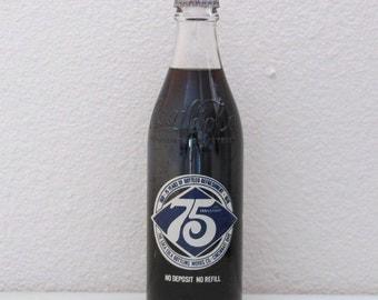 Coca Cola Commemorative  75th Anniversary Coke Glass Bottle Advertising Coke Cincinnati Ohio 1970's Seventies Soda Pop Refreshment