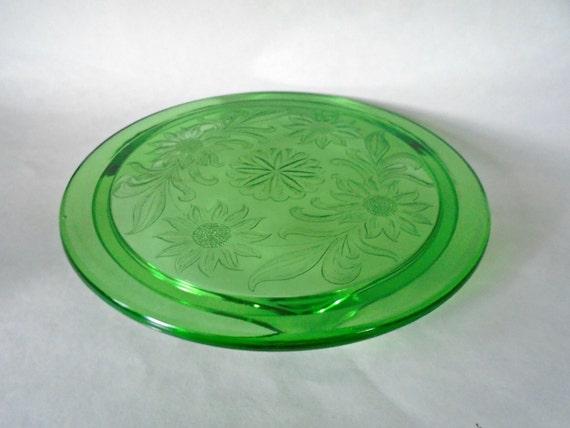 Green Glass Cake Stand Vintage Glass Cake Plate Dessert