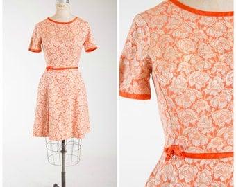 Vintage 1960s Dress • Mandarin Madness • Orange Brocade 50s Dress Size Medium