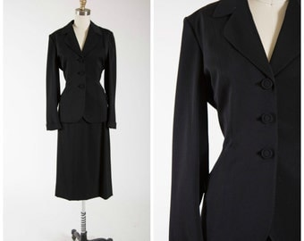 Vintage 1940s Suit • Black as Night • Gabardine 40s Tailored Suit with Top Stitch Detail Size Small