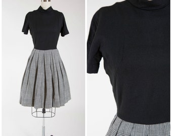 Vintage 1950s Dress • Carried Away • Black Wool 50s Dress with Full Plaid Skirt Size Small
