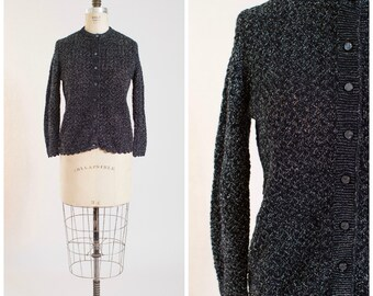 1960s Vintage Sweater Silver Lurex Black Knit Vintage 60s Cardigan with Scalloped Trim Size Medium