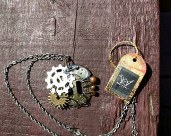 Silver/Antiqued Silver Steampunk Necklace
