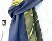 Mens Gift, Mens Scarf, Gift for Men, Gift Wrapped, Reversible Mens Silk Scarf Handpainted, Zen Temple Pavestone Scarf, 14x72 inches.