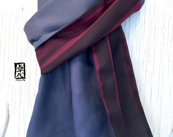 Mens Silk Scarf Handpainted, ETSY, Gift for him, Gift for husband, Reversible Zen Stripes Scarf, Maroon and Gun Metal Gray, 14x72 inches