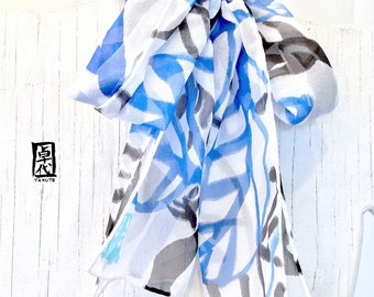 Silk Scarf Blue Handpainted, Blue and Black Vines Scarf, Black and Blue Scarf, Silk Chiffon Scarf, Silk Scarves Takuyo, 8x54 inches.