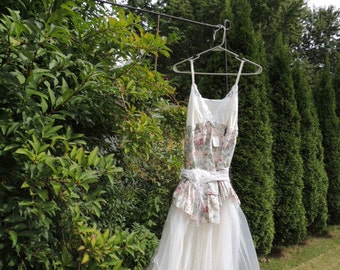 Sale M-L Eco Dress Bohemian Fairy Dress / Upcycled Clothing / Boho Dress / Altered Slip Dress / Romantic Dress  By Intrigues