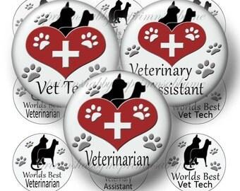 Veterinarian, Digital Collage Sheet, Bottle Cap Images, 1 Inch Circles, Vet Tech, Printable, Collage Art Sheet, Instant Download, No.1