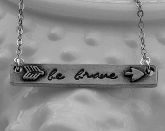 Silver Bar Necklace - Nameplate Necklace - Be Brave Necklace - Pet Necklace - Arrow Necklace - Paw Print Necklace- Anchor Necklace