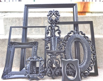 Large Black Picture Frame Set Mirror Sconce Collection Gallery Wall Goth Victorian French