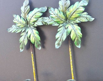 Shades of Greens Hand Painted Metal Palm Wall Sconce Set Indoor Outdoor Patio
