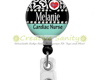 Personalized Retractable ID Badge Holder, Personalized Cardiac Nurse, Choice of Retractable Badge Reel,Carabiner,Lanyard or Steth ID Tag