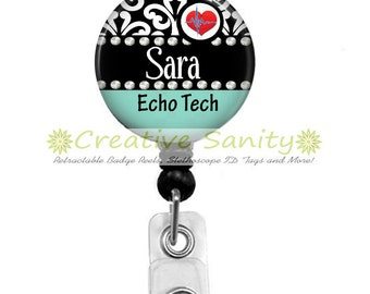 Retractable Badge Holder, Personalized Echo Tech, Choice of Badge Reel, Carabiner, Lanyard or Stethoscope ID Tag