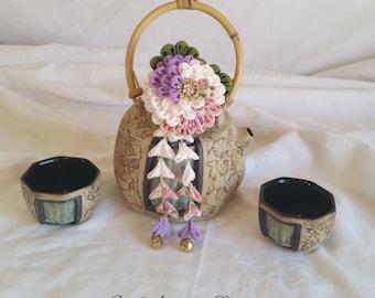 Swirl Kiku Chrysanthemum Tsumami Kanzashi Purple, Pearl, Pink Print with Leaves and Shidare Hair Fork