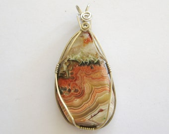Crazy Lace Agate Pendant, Lace Agate Pendant, Lace Agate Necklace, Wire Wrapped Lace Agate, Crazy Lace Agate in Sterling Silver, Gemsalad