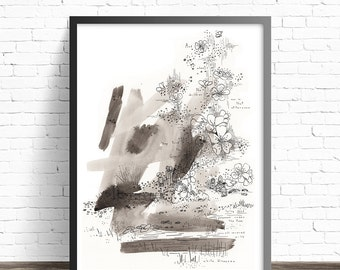 Book illustration print. Black and white print. The selfish giant kids illustration. Black and white art prints. Fine art prints