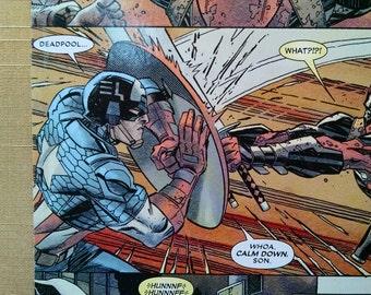 Handmade Deadpool with Captain America Blank Journal/Sketchbook - M049