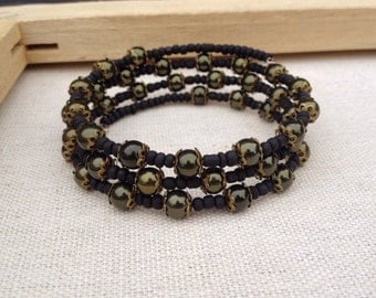 Metallic army green and matte black memory wire bracelet ~ One of a kind jewelry