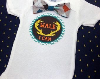 Baby Bow Tie Onesie®, Baby Bowtie Onesie®, Monthly Onesie®, Monthly Baby Stickers, Baby Month Stickers, Boy, Woodland, Antlers, Argyle Brown