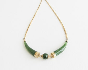 Jade Tusk Vintage Double Carved Horn Tusk Necklace on a Gold Tone Chain