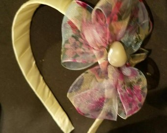 Ivory Headband with Sheer Floral Bow