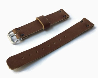 Handmade leather watch strap hand crafted genuine leather watch strap 20mm brown leather strap 20 mm watch strap 20 mm watch band