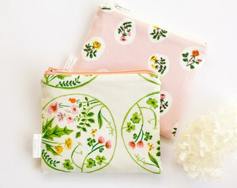 Coin Purse, Zipper Pouch, Pencil Pouch, Pencil Case, Pink, Green, Floral, Flower Girl, School Supplies, Teens, Women, Organize
