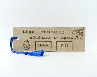Wooden Bookmark - Video Game - Hand Pyrography