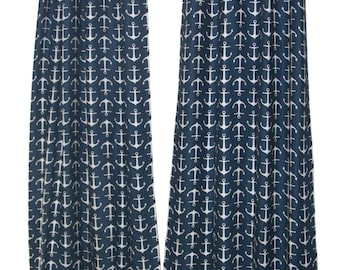 Nautical Curtains- Pair of Drapery Panels- Small Anchor Curtains- 25W or 50W x 63 84 96 108 120 Boys Drapes- Sailor Navy Beach House