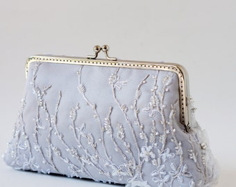 Metallic silver and grey bridal lace clutch / Beaded and Appliquéd Silk Clutch / Bridesmaid gifts purse / Mother of the bride clutch bag