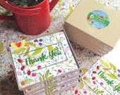 Box Set Thank You Cards - Botanical Watercolor Thank You Notecards - set of six cards with envelopes