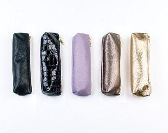 Small Metallic Leather Pencil Case. Small Leather Brush Bag. Artist Pencil Case. Small Pencil Case