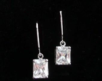 Rhinestone Dangle Earrings Super Sparklers Pierced Marquis Stones